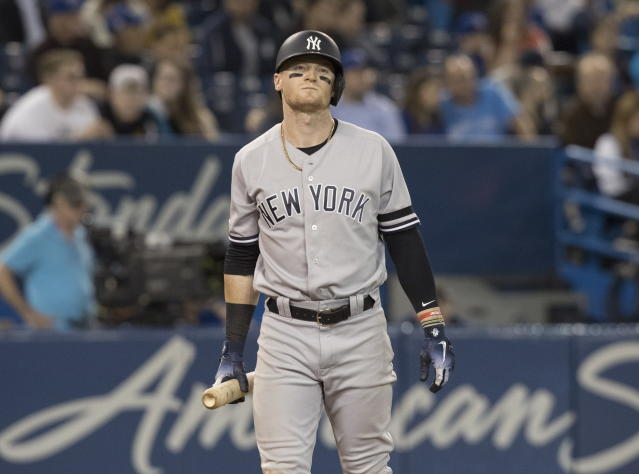 Baseball is full of tough breaks, and Clint Frazier is headed for the minors. (Fred Thornhill/The Canadian Press via AP)