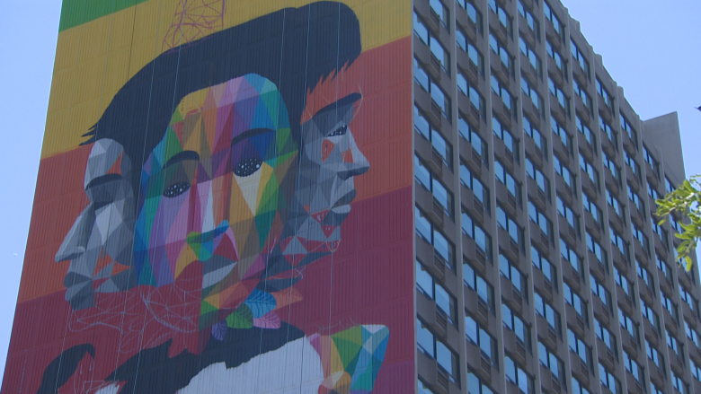 23-storey mural transforms downtown student residence