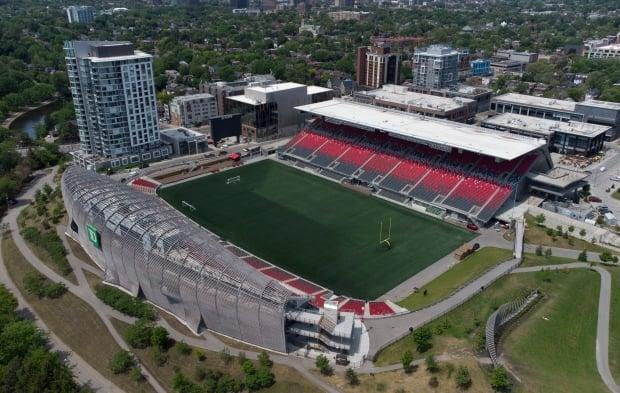 Located at Lansdowne Park, TD Place is the home of the Ottawa Redblacks CFL team and Atlético Ottawa CPL team. Any fans coming to events here must abide by a new COVID-19 vaccination policy as of Sept. 12. (Adrian Wyld/The Canadian Press - image credit)