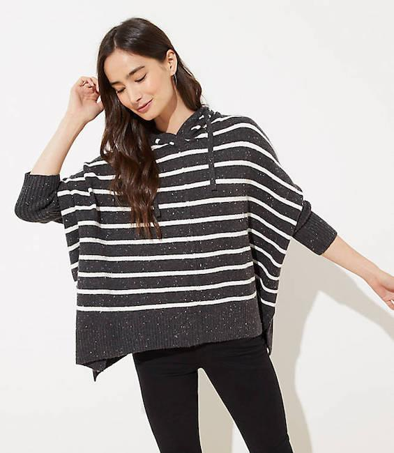 A refined poncho is the perfect winter sweater. (Photo: Loft)