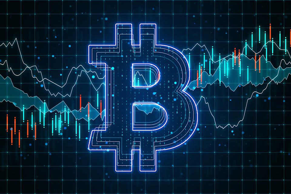 E-commerce concept with big glowing bitcoin circuit at business statistic graphs background. 3D Rendering