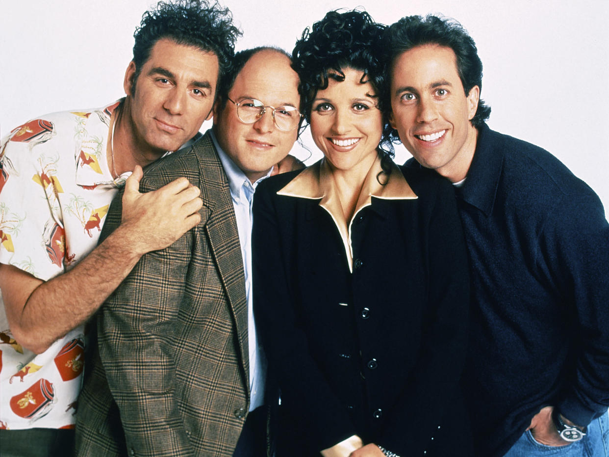 SEINFELD -- Season 9 -- Pictured: (l-r) Michael Richards as Cosmo Kramer, Jason Alexander as George Costanza, Julia Louis-Dreyfus as Elaine Benes, Jerry Seinfeld as Jerry Seinfeld  (Photo by Andrew Eccles/NBCU Photo Bank/NBCUniversal via Getty Images via Getty Images)
