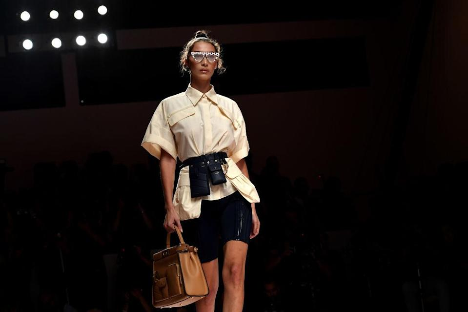 Bella Hadid walks the runway at the Fendi's spring-summer 2019 show during Milan Fashion Week on Sept. 20. (Photo: Jacopo Raule/Getty Images)
