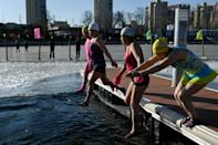 The ice swimmers head to the park every day for their dip, no matter what the weather