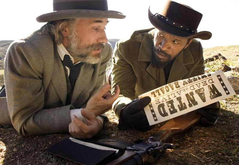 Christoph Waltz and Jamie Foxx in Django Unchained.