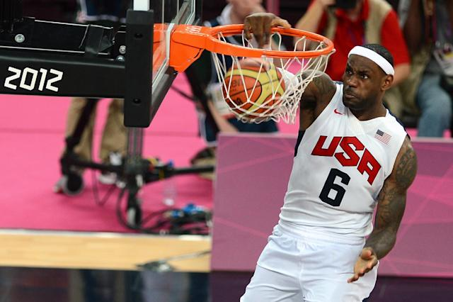 Basketball star LeBron James during the London Olympics men's gold medal game against Spain on August 12, 2012 (AFP Photo/Miguel Medina)