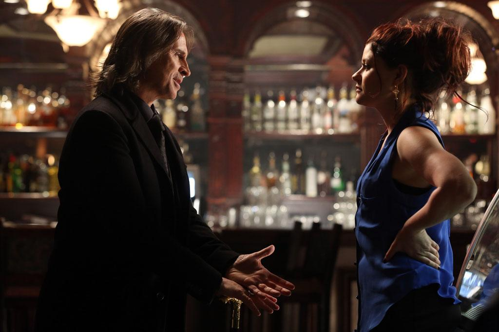 """Lacey"" - Mr. Gold enlists the aid of David to help him try to jog Belle's now cursed memories and get her to love him again; and when it is revealed that the magic beans Anton (Jorge Garcia, ""Lost"") and the dwarves have been harvesting have begun to grow and could possibly transport everybody home, Emma is torn over whether she would want to live in fairytale land or stay in our world. Meanwhile, in the fairytale land that was, Rumplestiltskin forces Belle to accompany him on a hunt to kill a thief, whom she had freed in the name of mercy, on ""Once Upon a Time."""