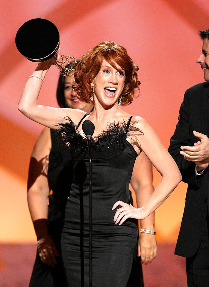 "A freshly coiffed Kathy Griffin hoists her second consecutive trophy for Outstanding Reality Program at the Creative Arts Emmy Awards. You go girl! Mathew Imaging/<a href=""http://www.wireimage.com"" target=""new"">WireImage.com</a> - September 13, 2008"