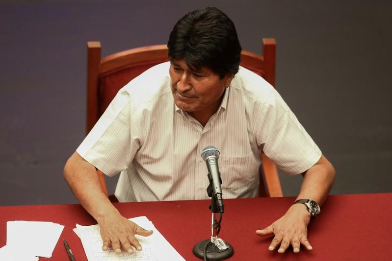 Bolivia's former President Evo Morales attends a news conference in Mexico City