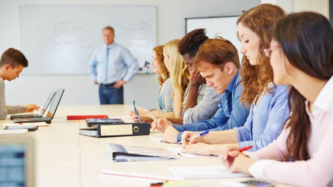 students learning in a class in university