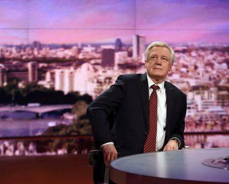 Britain's Secretary of State for Leaving the EU David Davis speaks on the Marr Show in London, March 12, 2017. Jeff Overs/BBC handout