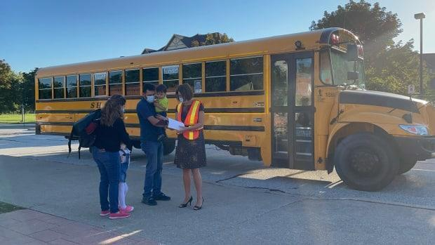 Students were dropped off at H. J. Lassaline Catholic Elementary School on Tuesday,  the start of the school year. (Amy Dodge/CBC - image credit)