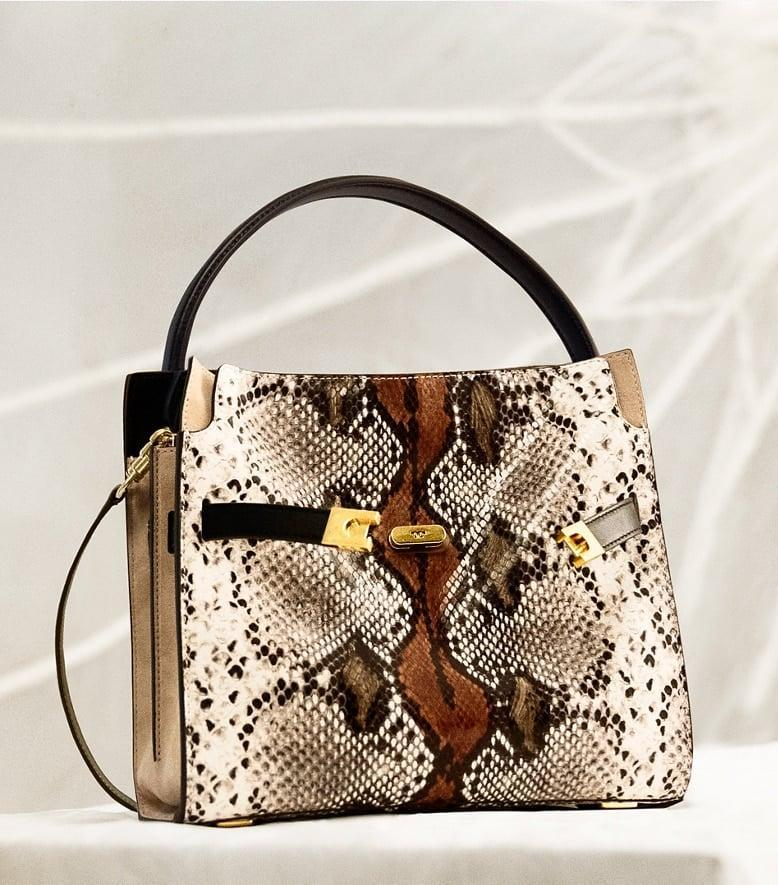 <p>Make a statement with this eye-catching <span>Tory Burch Lee Radziwill Small Double Bag</span> ($998).</p>