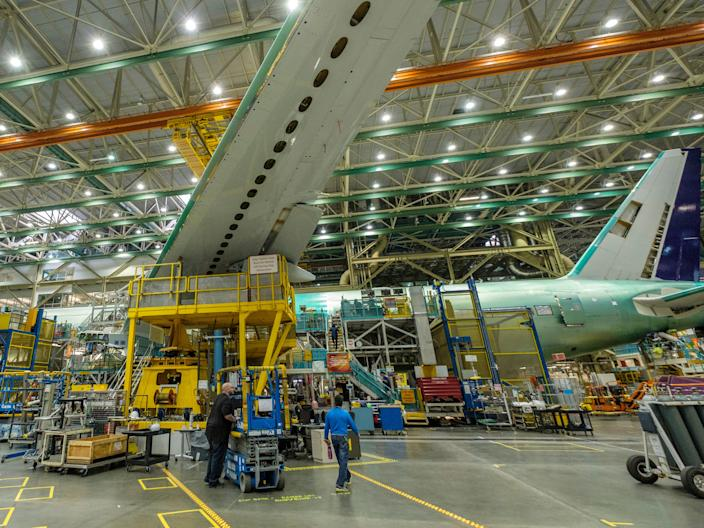 A Boeing 777X aircraft being built by Boeing.