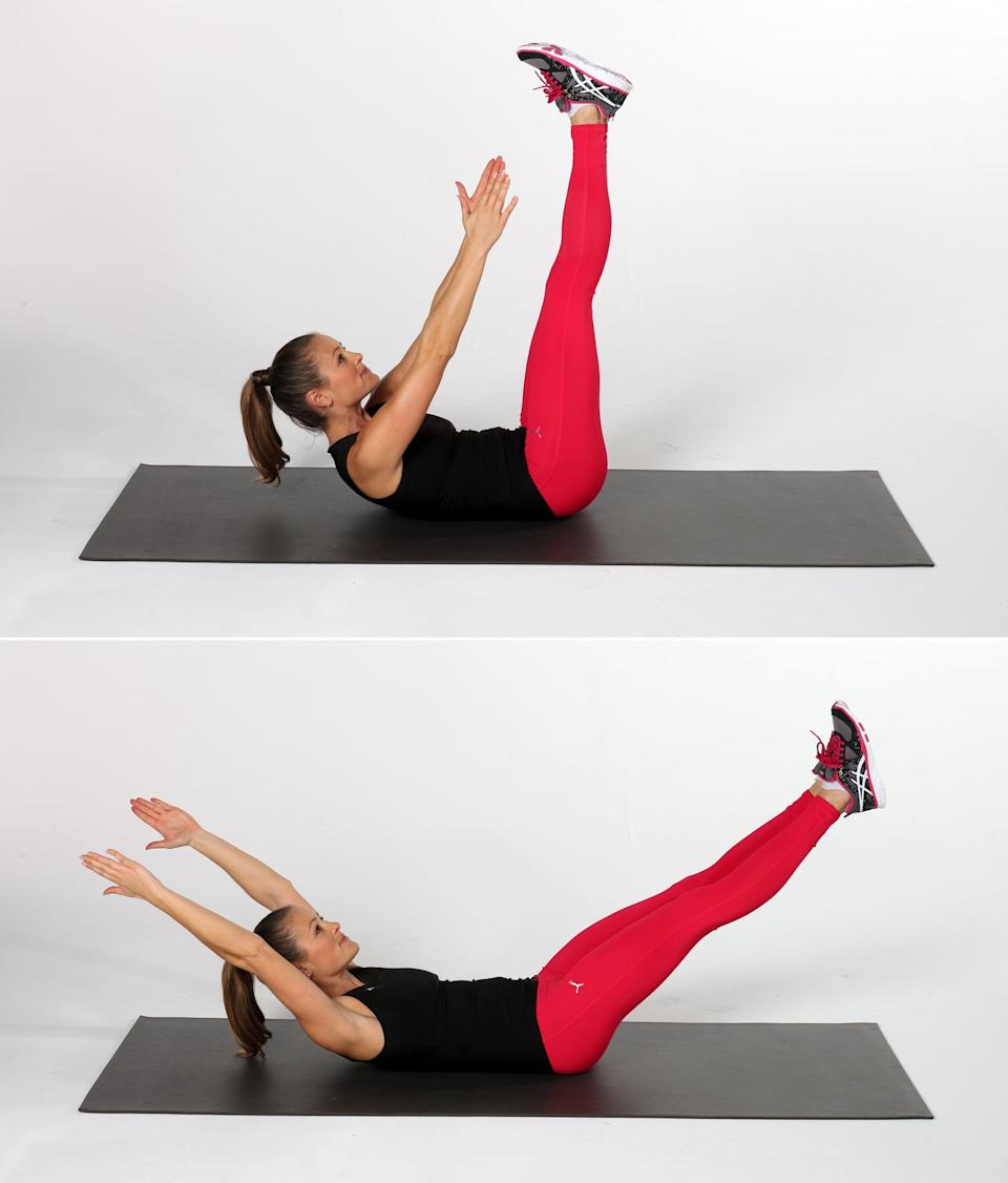 <ul> <li>Lie on your back, and lift your legs and arms up so they are extended toward the ceiling. Lift your upper back off the floor, reaching your hands toward your feet.</li> <li>Lower your arms and legs toward the floor at the same time, keeping your arms at your ears, shoulders off the mat, and lower back pressed into the mat. This is one rep.</li> <li>Complete 10 reps.</li> </ul>