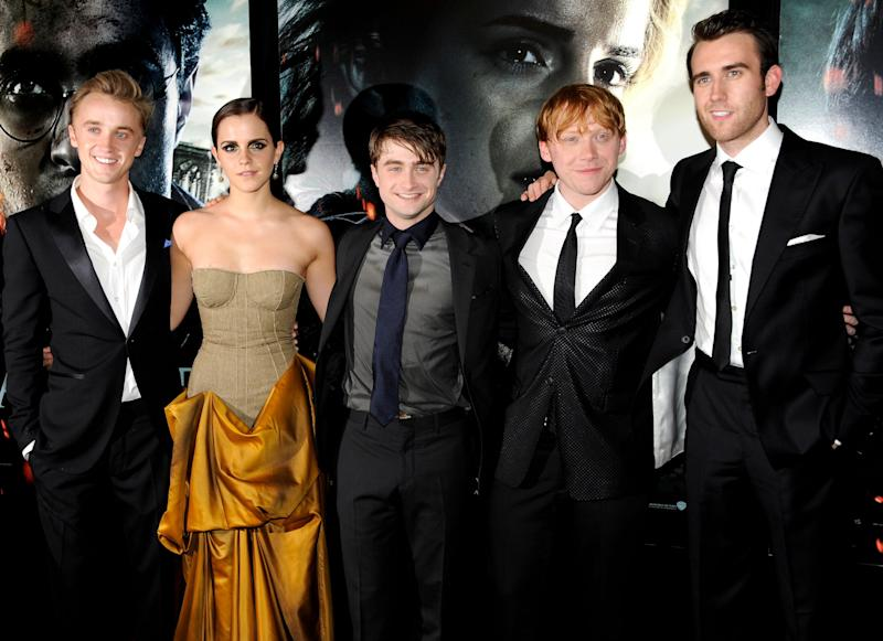 """Tom Felton, Emma Watson, Daniel Radcliffe, Rupert Grint and Matthew Lewis pose together at the premiere of """"Harry Potter and the Deathly Hallows: Part 2"""" in 2011. (Photo: ASSOCIATED PRESS)"""