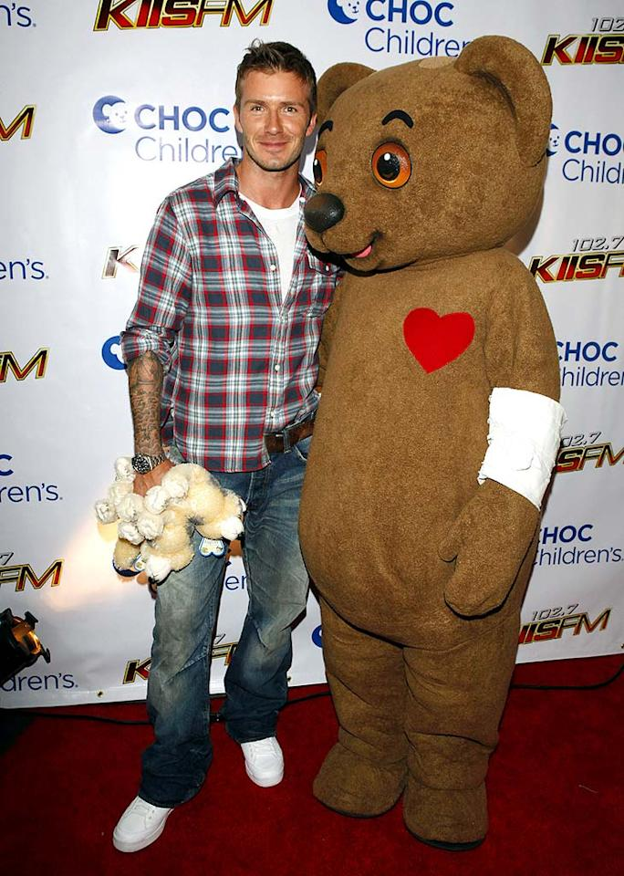 "Hunky soccer star David Beckham is greeted by an equally cuddly friend when he arrives at the 4th Annual Radio Lollipop Anniversary Live Broadcast and Fundraiser to benefit the Children's Hospital of Orange County. <a href=""http://www.wireimage.com"" target=""new"">Jean Baptiste Lacroix/WireImage.com</a> - September 15, 2009"