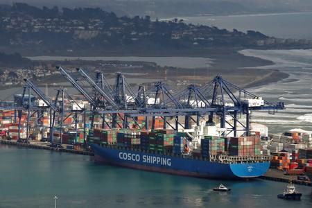 FILE PHOTO: A China Ocean Shipping Company (COSCO) container ship is seen at San Antonio port in Chile