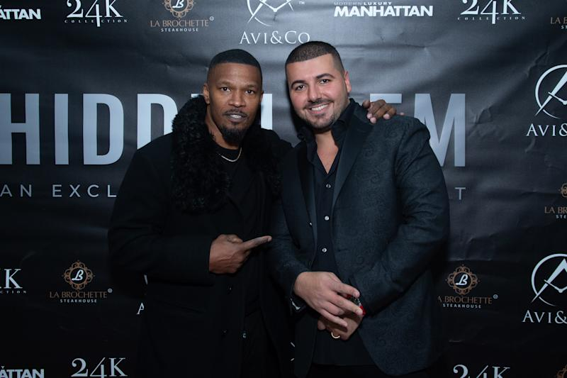 NEW YORK, NEW YORK - FEBRUARY 05: Actor Jamie Foxx and Avi Hiaeve attend the Avi & Co. and Manhattan Magazine Celebration of Rare Gems with Special Guest, Jamie Foxx on February 05, 2020 in New York City. (Photo by Mark Sagliocco/Getty Images for Manhattan Magazine )