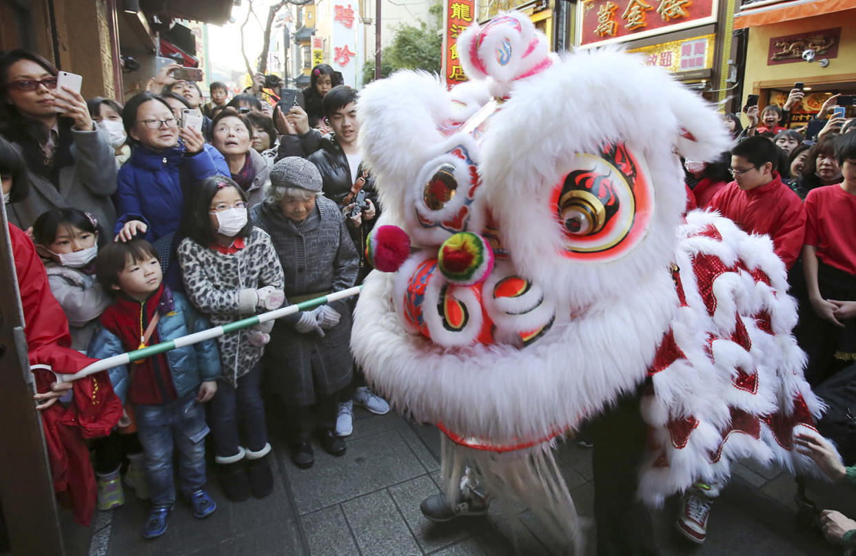 Chinese lion dancers draw attention from onlookers as they celebrate a Chinese Lunar New Year parading through Chinatown in Yokohama, near Tokyo, Saturday, Jan. 28, 2017. This year marks the Year of the Rooster in the Chinese zodiac. (AP Photo/Koji Sasahara)