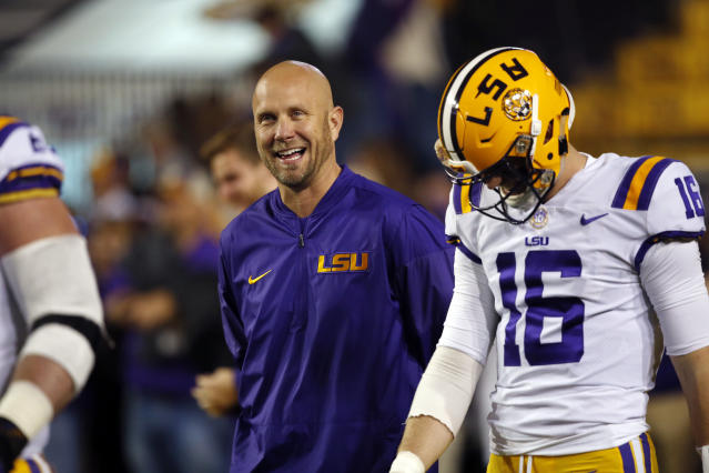 LSU offensive coordinator Matt Canada walks on the field before an NCAA college football game against Texas A&M in Baton Rouge, La., Saturday, Nov. 25, 2017. (AP Photo/Gerald Herbert)