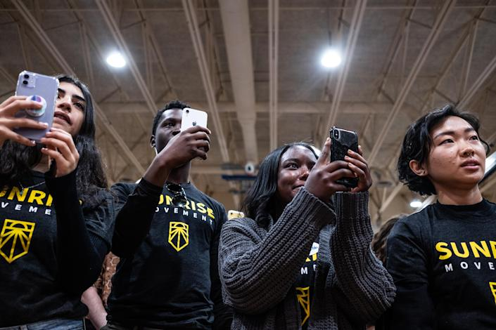 Attendees listen as Rep. Alexandria Ocasio-Cortez (D-N.Y.) speaks at a rally with Sen. Bernie Sanders (I-Vt.), a Democratic presidential candidate, at Drake University in Des Moines, Iowa, Nov. 9, 2019. (Jordan Gale/The New York Times)