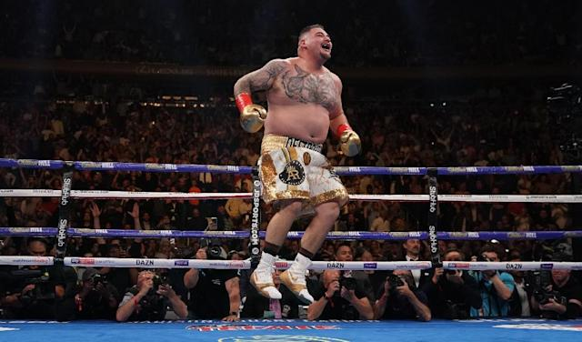 Mexican-American Andy Ruiz celebrates after knocking down Briton Anthony Joshua on the way to a TKO triumph for the IBF, WBA and WBO heavyweight world titles (AFP Photo/TIMOTHY A. CLARY)