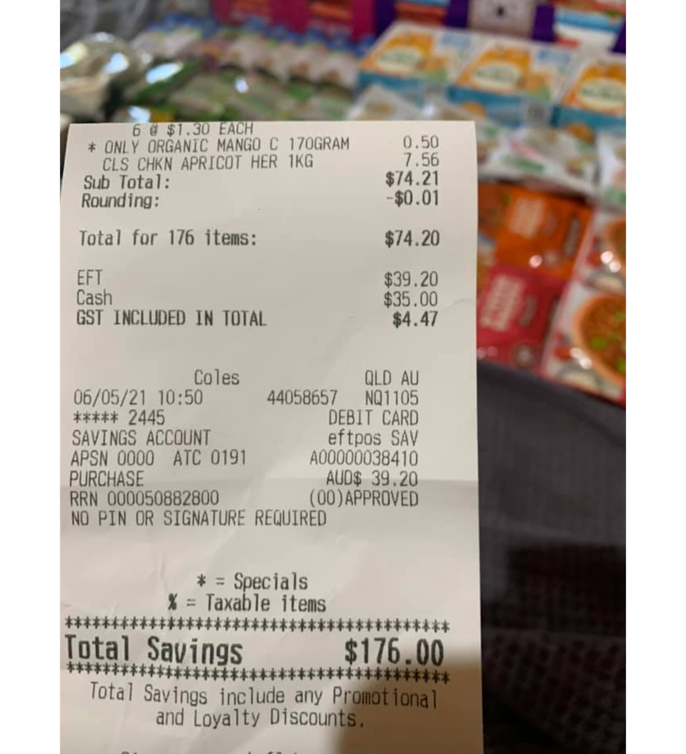A Coles receipt showing a shopper's haul of 176 items with a saving of $176.
