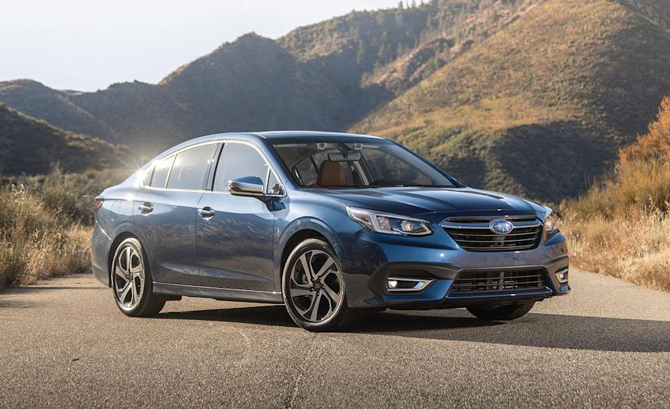 """<p>The <a href=""""https://www.caranddriver.com/subaru/legacy"""" rel=""""nofollow noopener"""" target=""""_blank"""" data-ylk=""""slk:Subaru Legacy"""" class=""""link rapid-noclick-resp"""">Subaru Legacy</a> is considered one of the safest cars in America, and it's a top seller for the brand. Even the base Legacy has features like adaptive headlights (that turn as you steer for curves), Subaru's EyeSight Driver Assist, active cruise control, and lane-keeping assist. It will also alert you if someone in the second row isn't wearing a seatbelt. Every Legacy comes with LED projector low- and high-beam headlights. While receiving Good and Superior ratings in all six crash tests and crash prevention tests, <a href=""""https://www.iihs.org/ratings/vehicle/subaru/legacy-4-door-sedan/2021"""" rel=""""nofollow noopener"""" target=""""_blank"""" data-ylk=""""slk:the IIHS did note"""" class=""""link rapid-noclick-resp"""">the IIHS did note</a> that during small overlap passenger-side testing, the dummy's head was vulnerable after slipping into the gap between the frontal and side curtain airbags. It was given an Acceptable rating for that specific evaluation. </p><p><a class=""""link rapid-noclick-resp"""" href=""""https://www.caranddriver.com/reviews/a28811392/2020-subaru-legacy-drive/"""" rel=""""nofollow noopener"""" target=""""_blank"""" data-ylk=""""slk:LEGACY TESTED"""">LEGACY TESTED</a> 