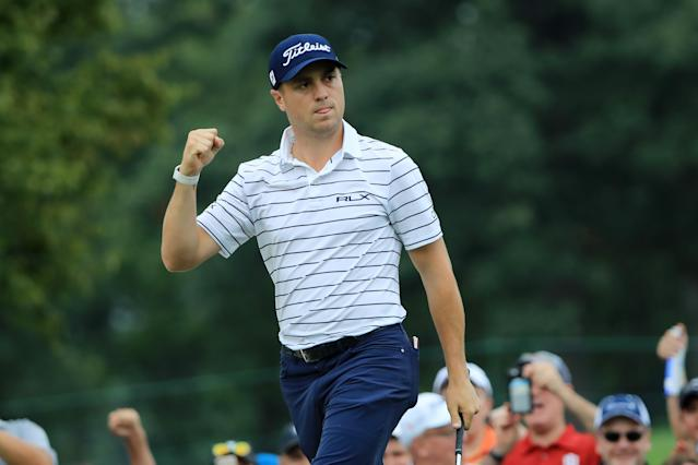 Justin Thomas carded eight birdies and two eagles on Saturday to capture the lead at the BMW Championship. (Sam Greenwood/Getty Images)