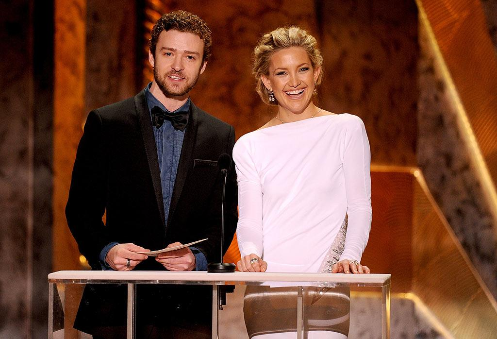 "When Justin Timberlake and Kate Hudson presented together at the SAG Awards their ""chemistry"" was ""evident,"" claims the <i>National Enquirer</i>. Chemistry? Really? And how were they supposed to act, hostile toward each other? Well, the <i>Enquirer</i> says that ""chemistry"" is what's leading Hudson to pursue a single Timberlake. Wait, Timberlake's still dating Jessica Biel. Read more about this failed ""chemistry"" experiment on <a href=""http://www.gossipcop.com/rumor-links-justin-timberlake-to-kate-hudson/"" target=""new"">Gossip Cop</a>. Kevin Winter/<a href=""http://www.gettyimages.com/"" target=""new"">GettyImages.com</a> - January 23, 2010"