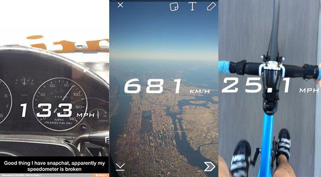 Snapchat's speed filter allows users to take a picture of how fast they are travelling. Pictures: Reddit/dfe_etsitty, iFunny/iDomBMX_GHIF, Twitter/zachlalvarez
