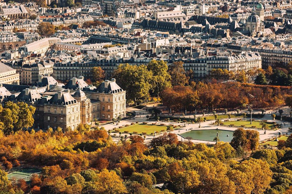 Aerial view of Paris with autumn colors, France