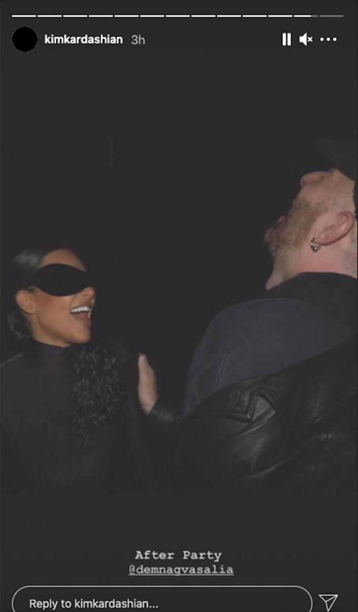 """<p>Kim Kardashian, slightly less masked than on the red carpet, shared one smiley shot from a mystery """"after party.""""</p>"""