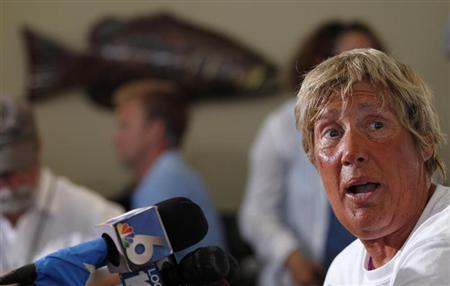 U.S. long-distance swimmer Diana Nyad who completed her swim from Cuba to Key West, Florida, yesterday, speaks at a news conference on Stock Island