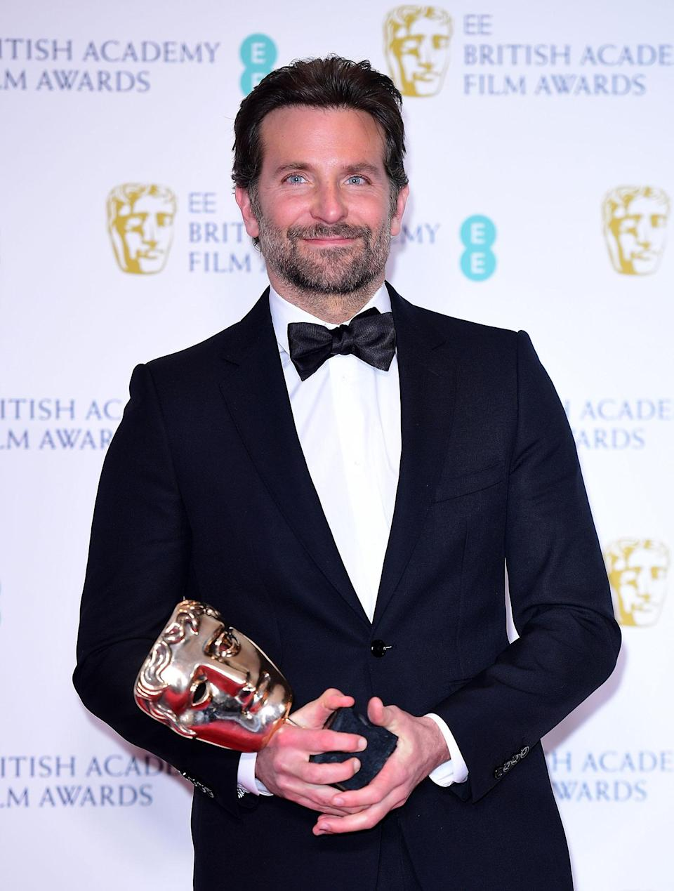 Bradley Cooper with his Best Original Music Bafta for <i>A Star is Born</i> in the press room at the 72nd British Academy Film Awards. (Ian West/PA)
