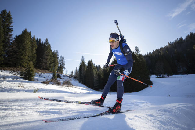 Marco Barale of Italy competes on the final leg of the Biathlon Mixed Relay event at Les Tuffes Nordic Centre, France Wednesday, Jan. 15, 2020. (Simon Bruty for OIS via AP)