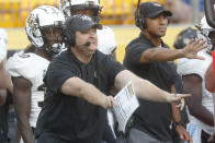 Central Florida head coach Josh Heupel yells instructions to his team during the second half of an NCAA college football game against Pittsburgh, Saturday, Sept. 21, 2019, in Pittsburgh. (AP Photo/Keith Srakocic)