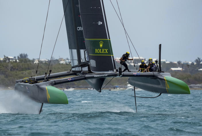 In this photo provided by SailGP, the Australia SailGP Team, helmed by Tom Slingsby, competes on race Day 2 of the Bermuda SailGP event in Hamilton, Bermuda, Sunday, April 25, 2021. (Bob Martin/SailGP via AP)