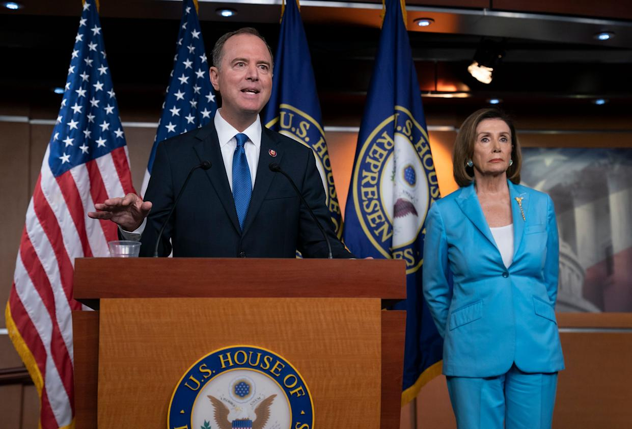House Intelligence Committee Chairman Adam Schiff, D-Calif., joins Speaker of the House Nancy Pelosi, D-Calif., right, at a news conference as House Democrats move on depositions in the impeachment inquiry of President Donald Trump, at the Capitol in Washington, Oct. 2, 2019.