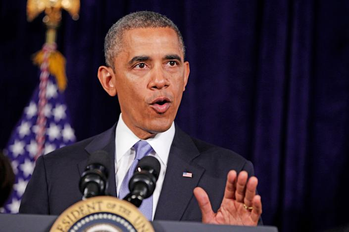 In this June 7, 2013 file photo, President Barack Obama gestures during a statement about the Affordable Care Act, Friday, in San Jose, Calif.