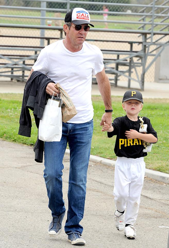 Dennis Quaid leaves a baseball field with son Thomas who won a huge trophy! It was presenation day and trophy day in Brentwood as the kids who have been playing sports for their different teams all spring had their final play day. Quaid was seen heading to the car with his son holding his hand after they enjoyed an afternoon of baseball in LA.   Pictured: Dennis Quaid and Thomas Quaid  Ref: SPL557923 080613  Picture by: Splash News     Splash News and Pictures  Los Angeles:	310-821-2666  New York:	212-619-2666  London:	870-934-2666  photodesk@splashnews.com
