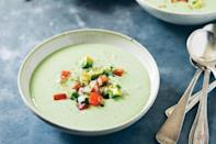 """All the flavors of guacamole meet up in this soup, with yogurt adding body and refreshment. Serve it with a pita or tortilla chips, as well as a salad of frisée, jicama, and oranges. <a href=""""https://www.epicurious.com/recipes/food/views/chilled-avocado-and-yogurt-soup-with-tomato-salsa-56389458?mbid=synd_yahoo_rss"""" rel=""""nofollow noopener"""" target=""""_blank"""" data-ylk=""""slk:See recipe."""" class=""""link rapid-noclick-resp"""">See recipe.</a>"""