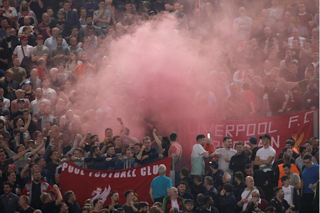 Soccer Football - Champions League Semi Final Second Leg - AS Roma v Liverpool - Stadio Olimpico, Rome, Italy - May 2, 2018 Liverpool fans inside the stadium before the match REUTERS/Max Rossi