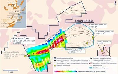 Figure 2 – Larocque East Exploration Drilling Areas and DC-Resistivity Survey Location (CNW Group/IsoEnergy Ltd.)