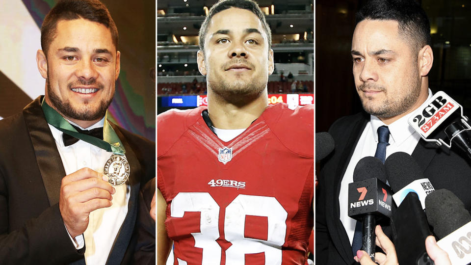 Jarryd Hayne, pictured here in the NRL and NFL.