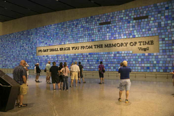"<p>These words are part of a larger art installation in the 9/11 Memorial Museum created in 2014 by artist Spencer Finch, titled ""Trying to Remember the Color of the Sky on That September Morning."" The installation is the focal point for Memorial Hall, the area between the two main exhibitions at bedrock in the museum. (Photo: Gordon Donovan/Yahoo News) </p>"