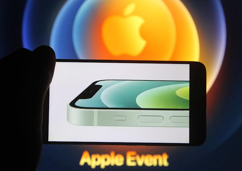 In this photo illustration the new iPhone12 is seen displayed on a smartphone screen. (Photo by Pavlo Gonchar / SOPA Images/Sipa USA)