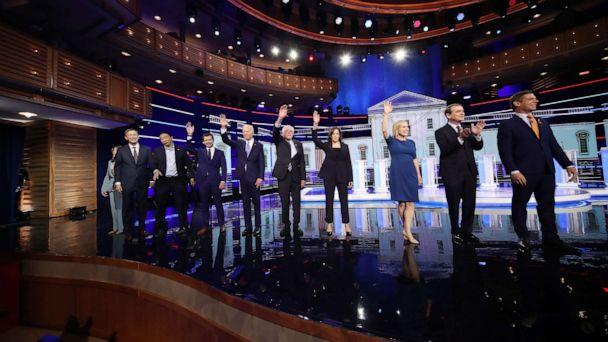 PHOTO: 2020 democratic presidential candidates participate in the second night of the first 2020 democratic presidential debate at the Adrienne Arsht Center for the Performing Arts in Miami, June 27, 2019. (Joe Raedle/Getty Images)