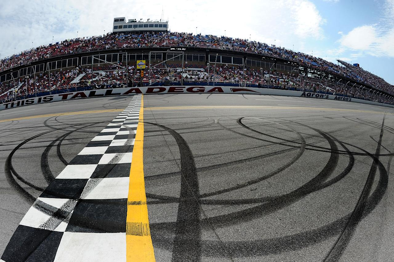 TALLADEGA, AL - MAY 06:  Burnout marks are shown on the start finish line after the NASCAR Sprint Cup Series Aaron's 499 at Talladega Superspeedway on May 6, 2012 in Talladega, Alabama.  (Photo by Jared C. Tilton/Getty Images)